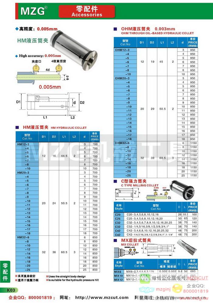HM液压刀柄筒夹,高精度强力型筒夹,MX,ADS后拉式筒夹,MZG刀具配件参数图片价格